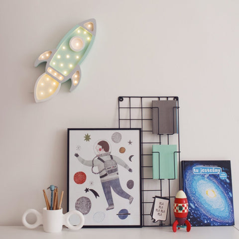 Little Lights Rocket Ship Lamp - Mint/Grey