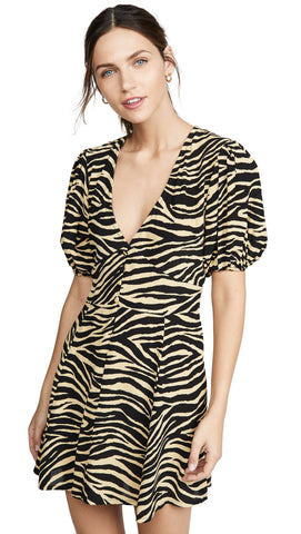 Ilia Mini Dress - Amaia Zebra Print - Pale Yellow
