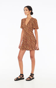 Ilia Mini Dress in Nicasia Floral Print Chocolate by Faithfull The Brand | Dresses