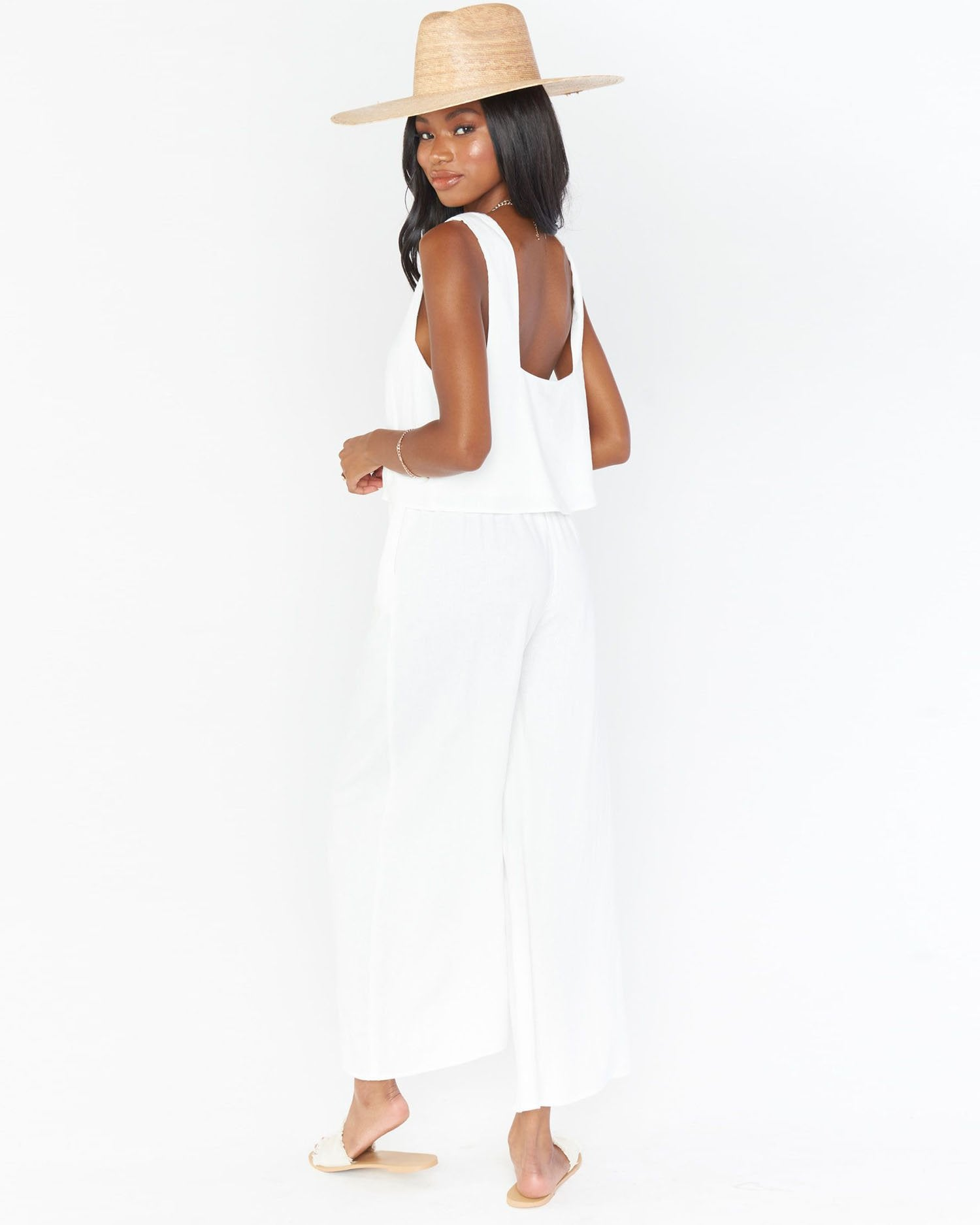 Load image into Gallery viewer, Kick Back Pants - White Linen | Show Me Your Mumu - Women's Clothing