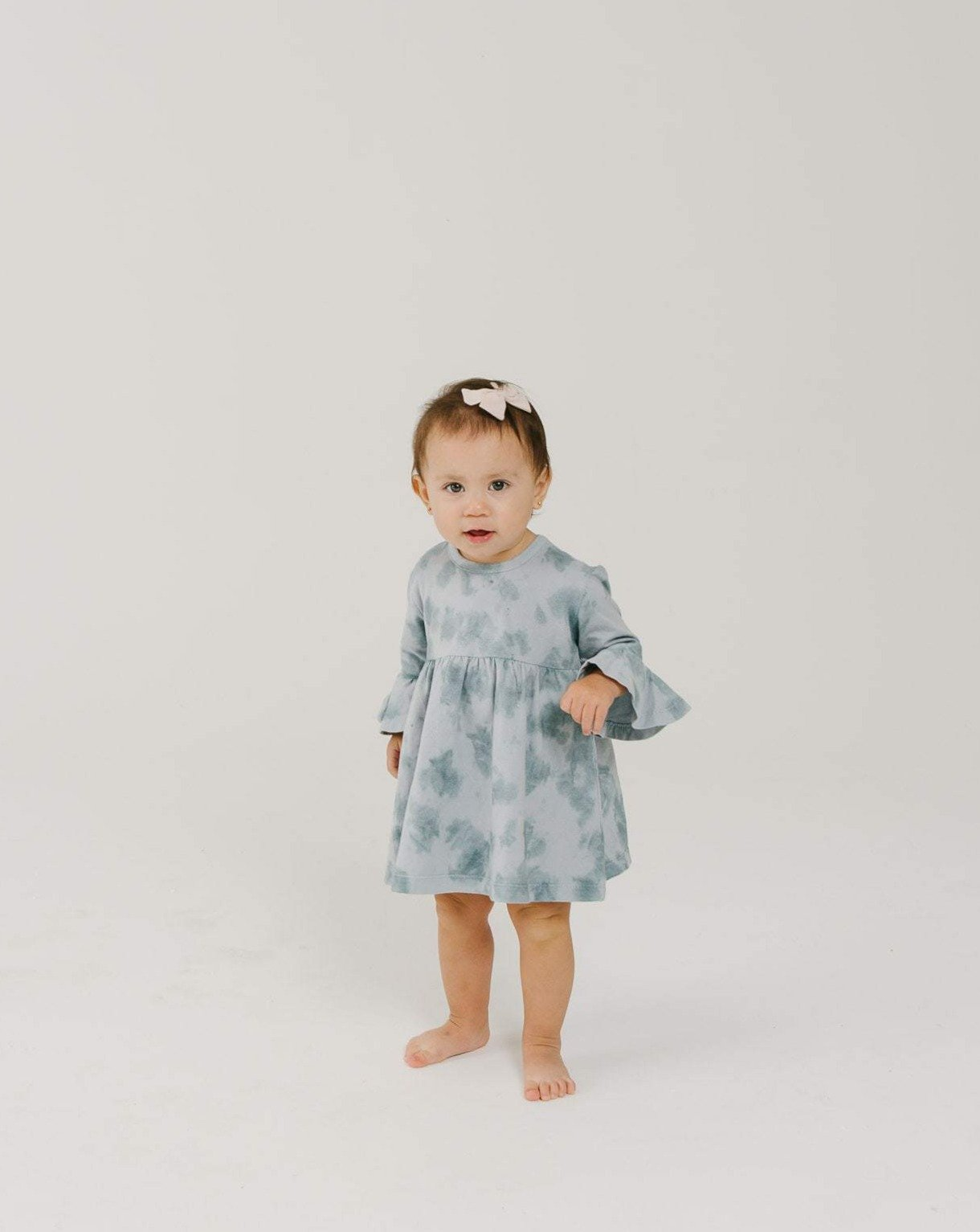 Load image into Gallery viewer, Organic Ruffle Dress - Ocean Mist | Bohemian Mama Littles - Kids' Clothing
