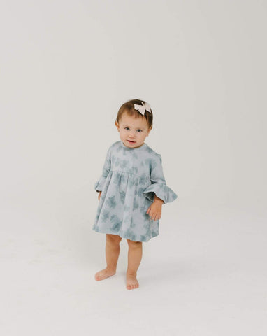 Organic Ruffle Dress - Ocean Mist
