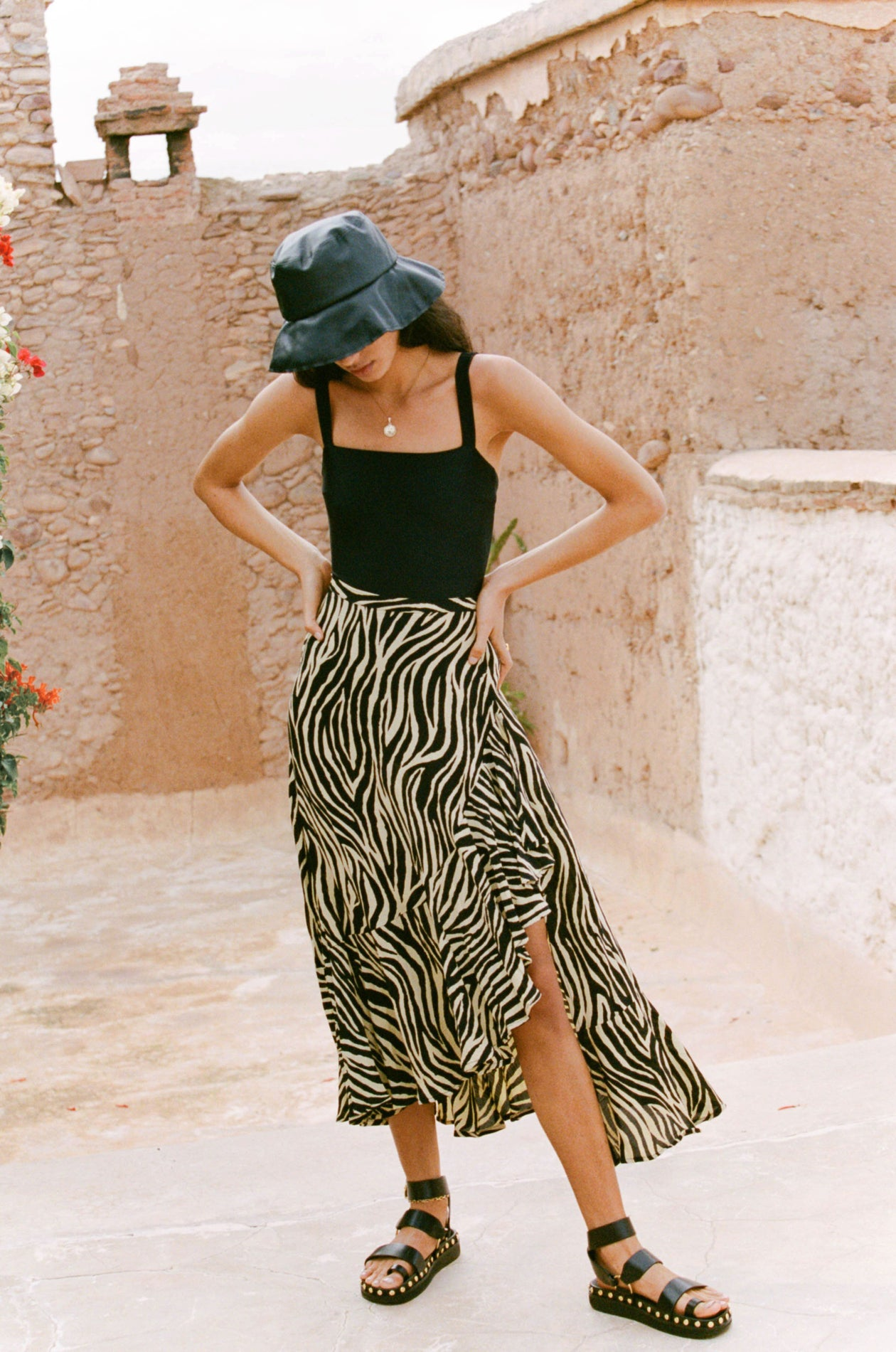 Jasper Midi Skirt in Amaia Zebra Print Pale Yellow | Faithfull The Brand