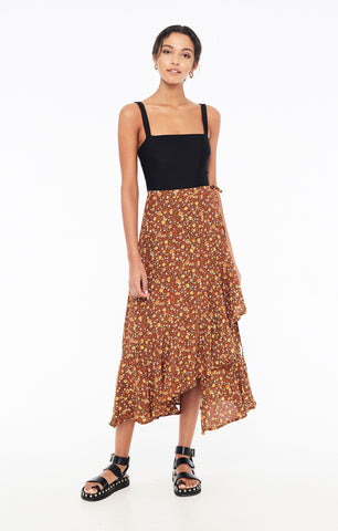 Jasper Midi Skirt in Nicasia Floral Print Chocolate by Faithfull The Brand