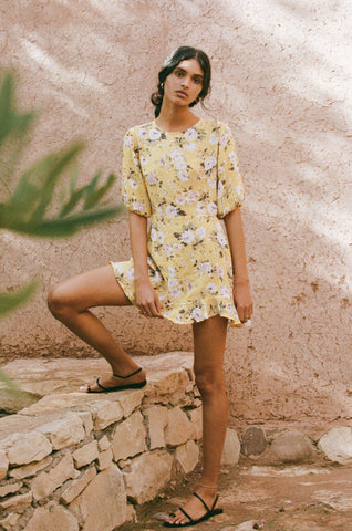 Jeanette Dress - Pomeline Floral Print - Jasmin Yellow
