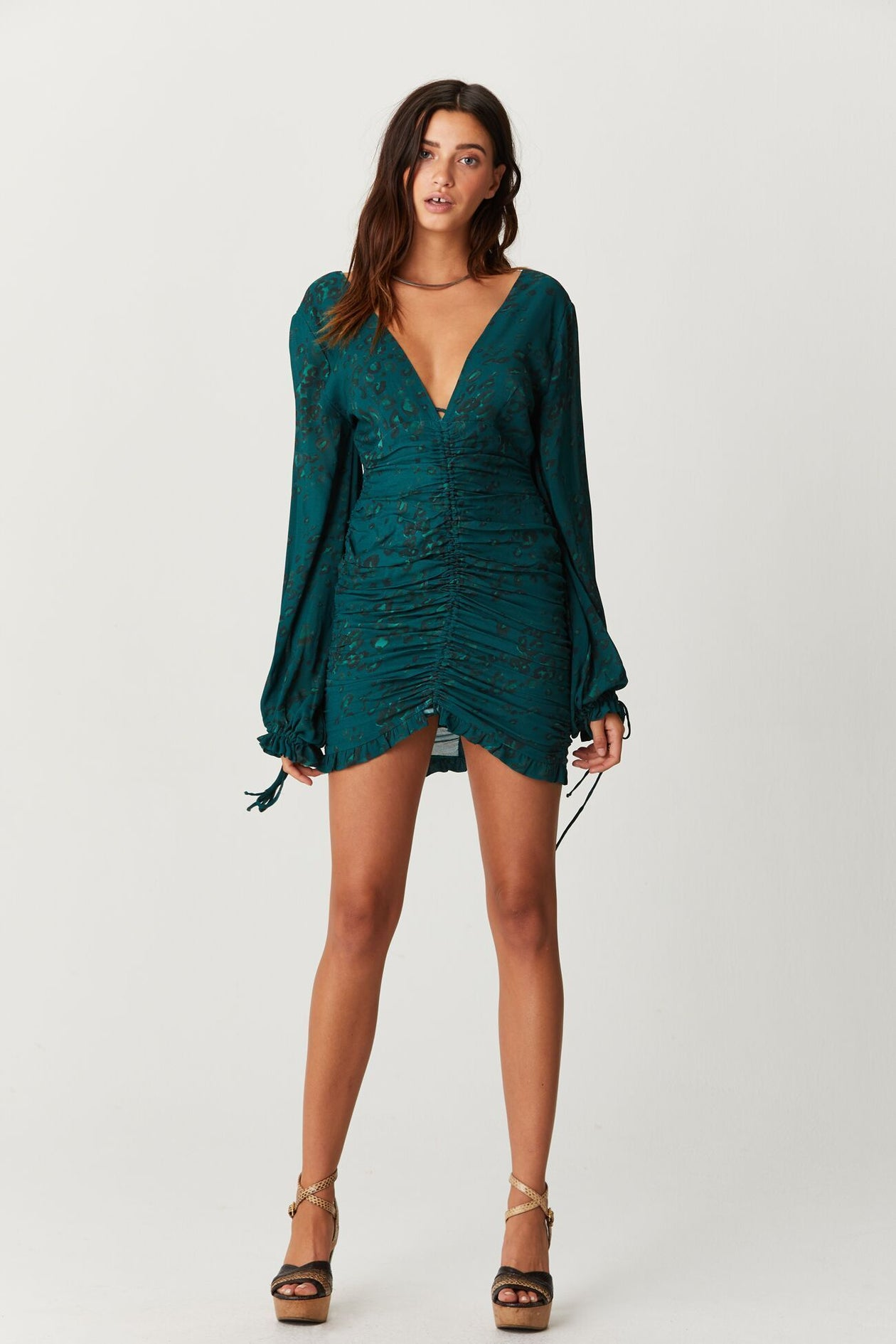 Jen's Pirate Booty Rainforest Mini Dress Emerald Leopard