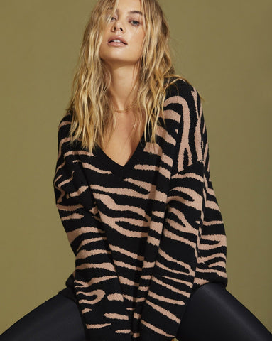 Joey Sweater - Warm Taupe Zebra
