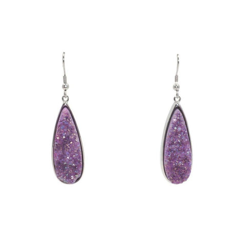 Druzy Collection - Silver Royal Quartz Drop Earrings