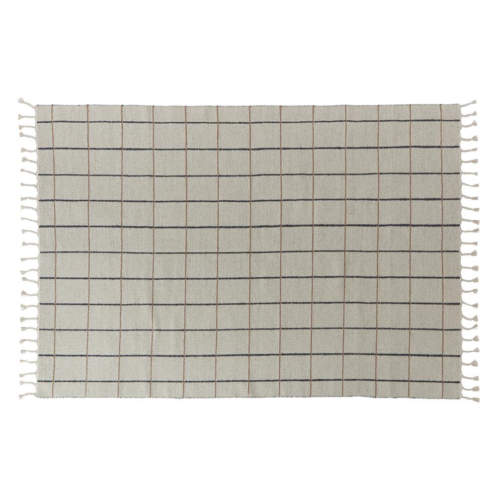 Load image into Gallery viewer, Oyoy Grid Rug Offwhite / Anthracite | Minimalist Area rugs