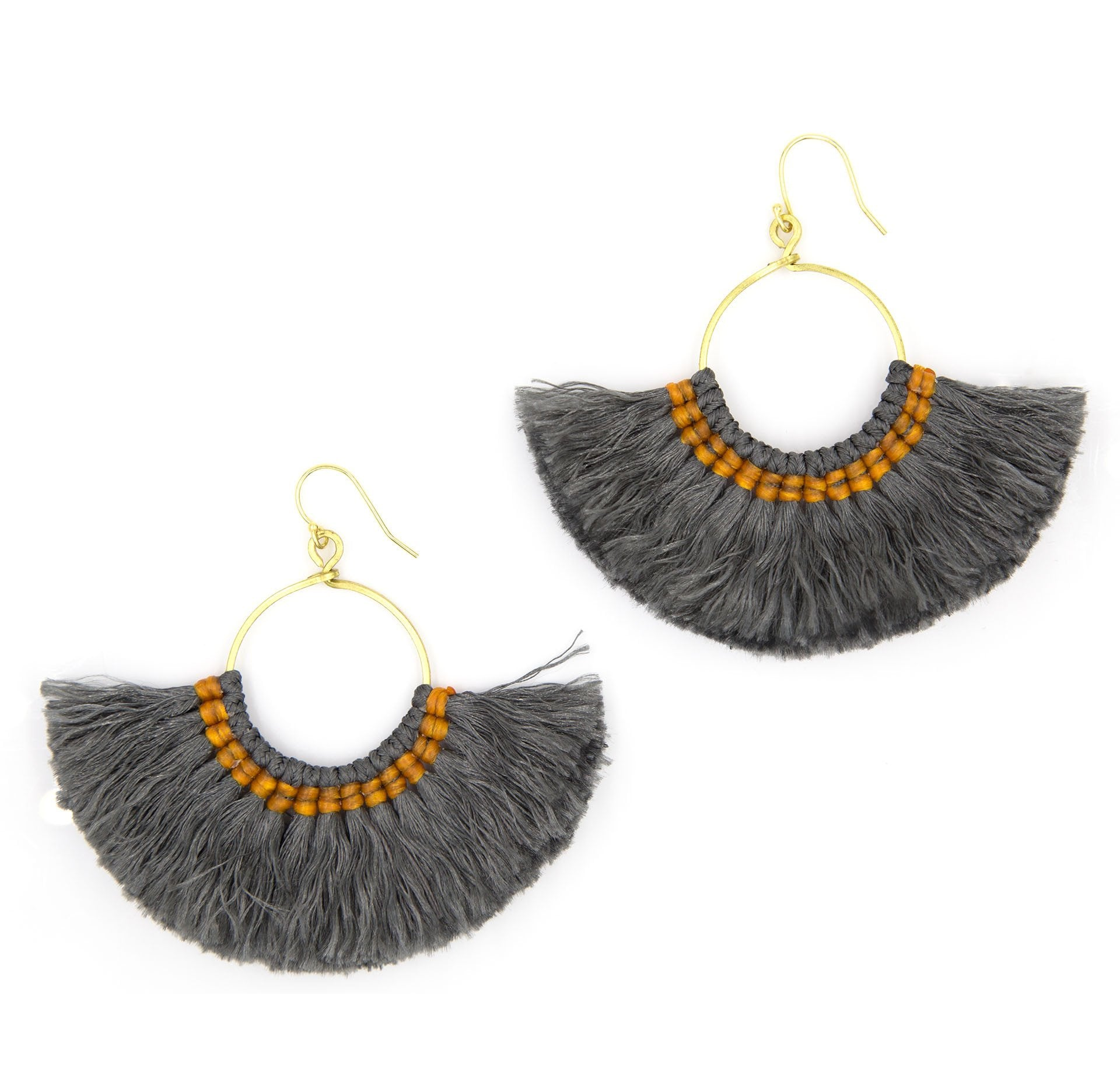 Load image into Gallery viewer, lamai-tassel-fan-earrings-slate