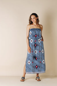 Ikat Strapless Indigo Dress from Rubyyaya for Women