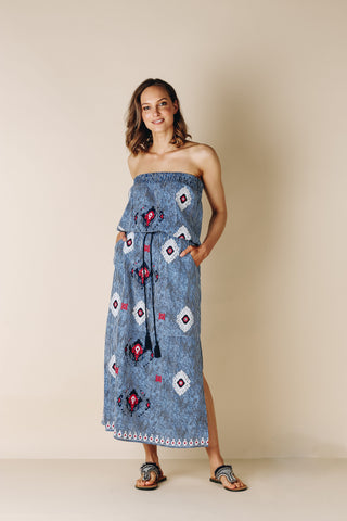 Ikat Strapless Indigo Dress