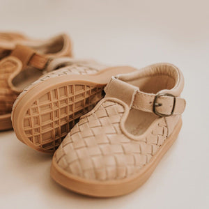 Consciously Baby Shoes Leather Woven T-Bar Baby Toddler Shoe