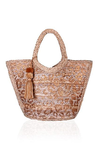 Leopard Gold Foil Print Jute Tote With Tassel by America & Beyond