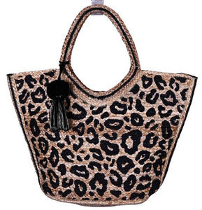 Leopard Print Jute Tote With Tassel by America & Beyond