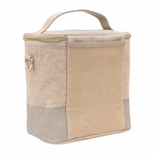 Load image into Gallery viewer, Linen-Cement Colour Block Lunch Poche for Adults