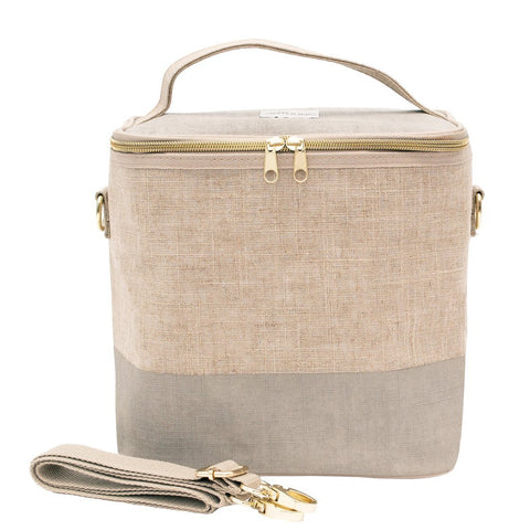 Linen-Cement Colour Block Lunch Poche for Adults