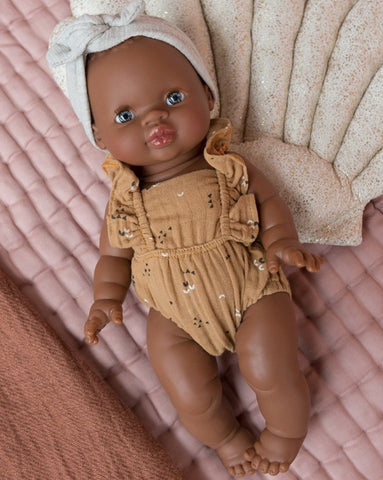 MiniKane Little African Baby Girl Doll - Blue Eyes