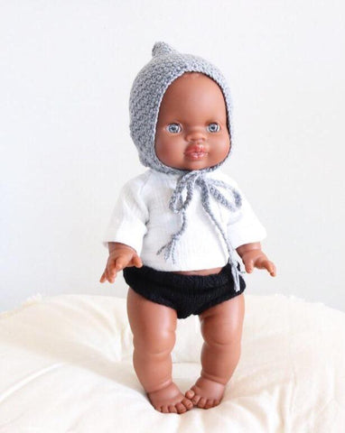 (PREORDER) MiniKane Little African Baby Boy Doll - Blue Eyes