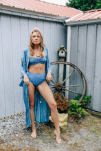Load image into Gallery viewer, Gypsy Love Long Kimono in Royal Palm Tropical Teal by Bohemian Mama The Label