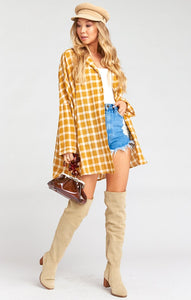 Lorolie Tunic in Check Me Gold by Show Me Your Mumu | Fall Clothing for Women