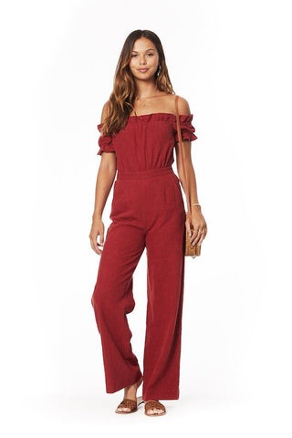 Lover's Cove Jumpsuit in Rust from Lost + Wander