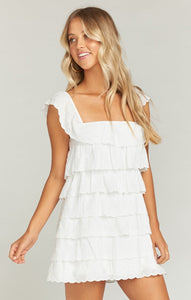 Lucy Mini Dress in White Eyelet by Show Me Your Mumu | Bohemian Mama