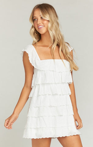 Lucy Mini Dress - White Eyelet