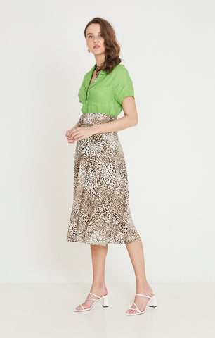 Luda Midi Skirt - Signe Animal Print