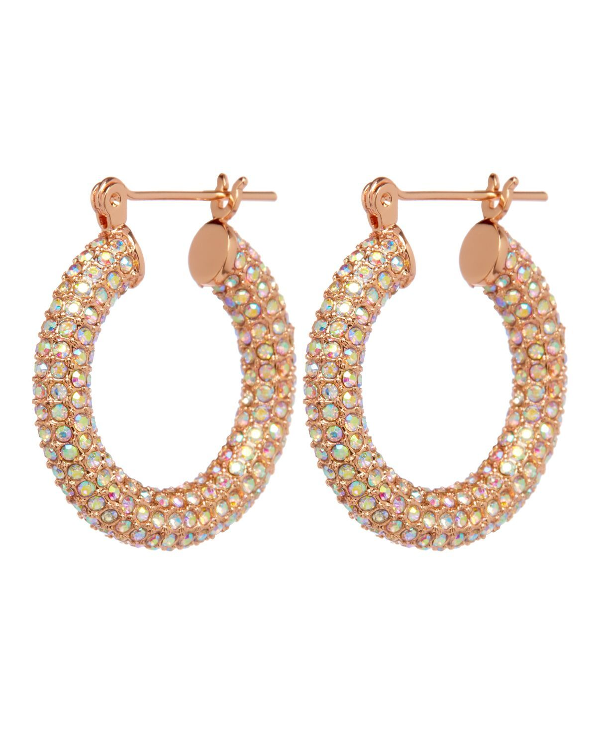 Luv Aj Baby Amalfi Hoops Rose Gold & Rainbow Crystal