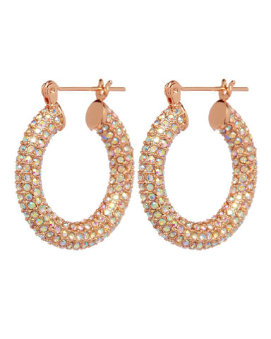 Pave Baby Amalfi Hoops- Rose Gold & Rainbow Crystal