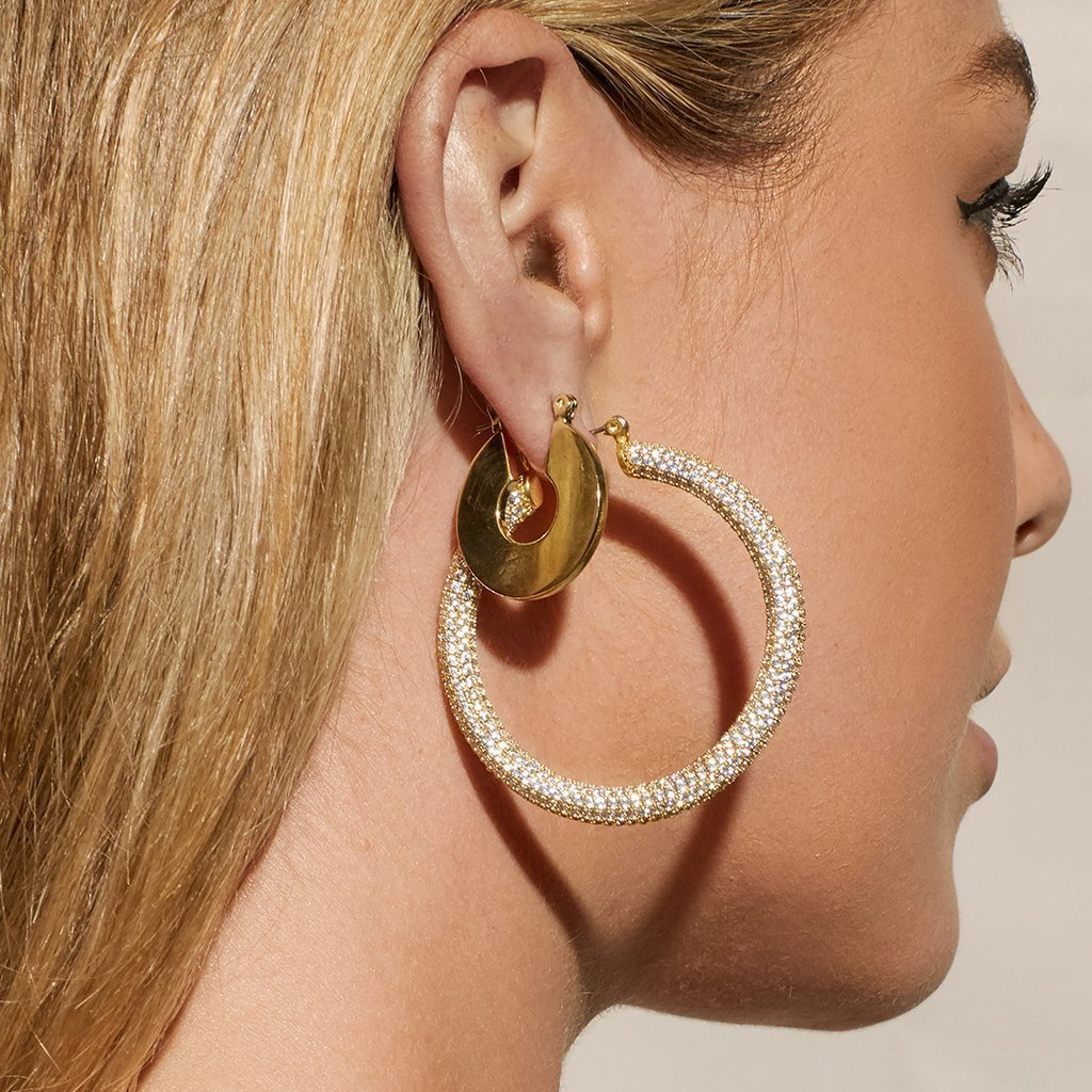 Load image into Gallery viewer, Luv Aj Pave Amalfi Hoops Gold Earrings