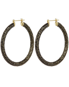 Pave Amalfi Hoops - Gold & Jet