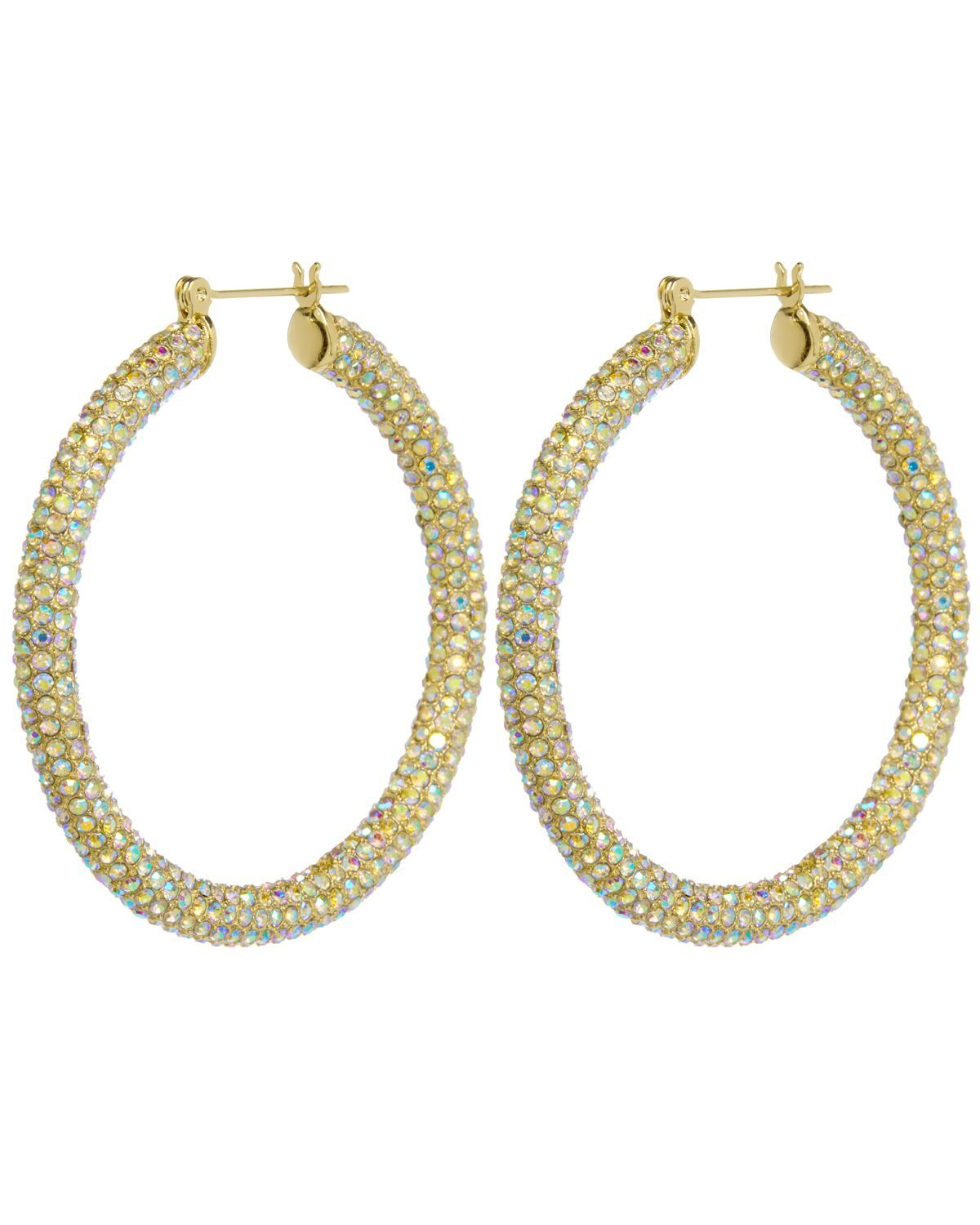 Luv Aj Pave Amalfi Hoops Gold & Rainbow Crystal