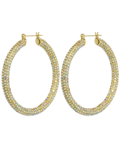 Pave Amalfi Hoops - Gold & Rainbow Crystal