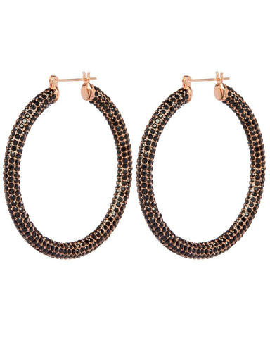 Pave Amalfi Hoops - Rose Gold & Jet