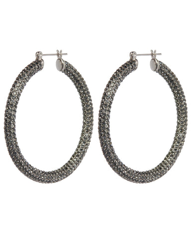 Pave Amalfi Hoops - Silver & Black Diamond