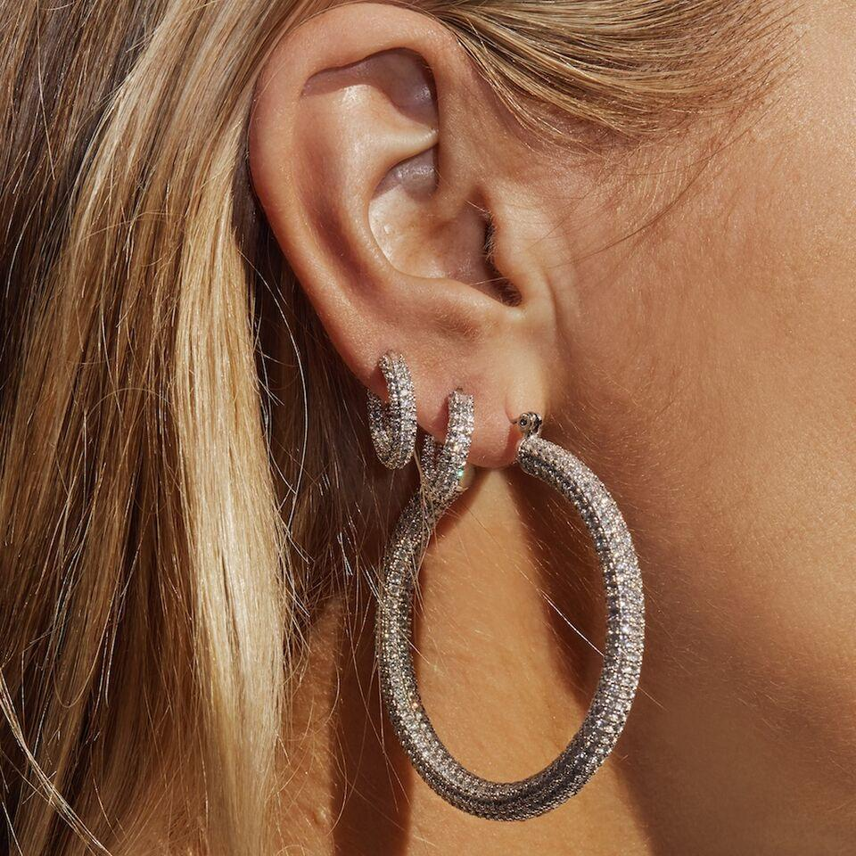 Luv Aj Pave Amalfi Hoops Earrings Silver
