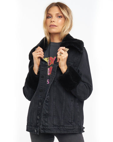 Denver Denim Jacket - Washed Black with Faux Fur