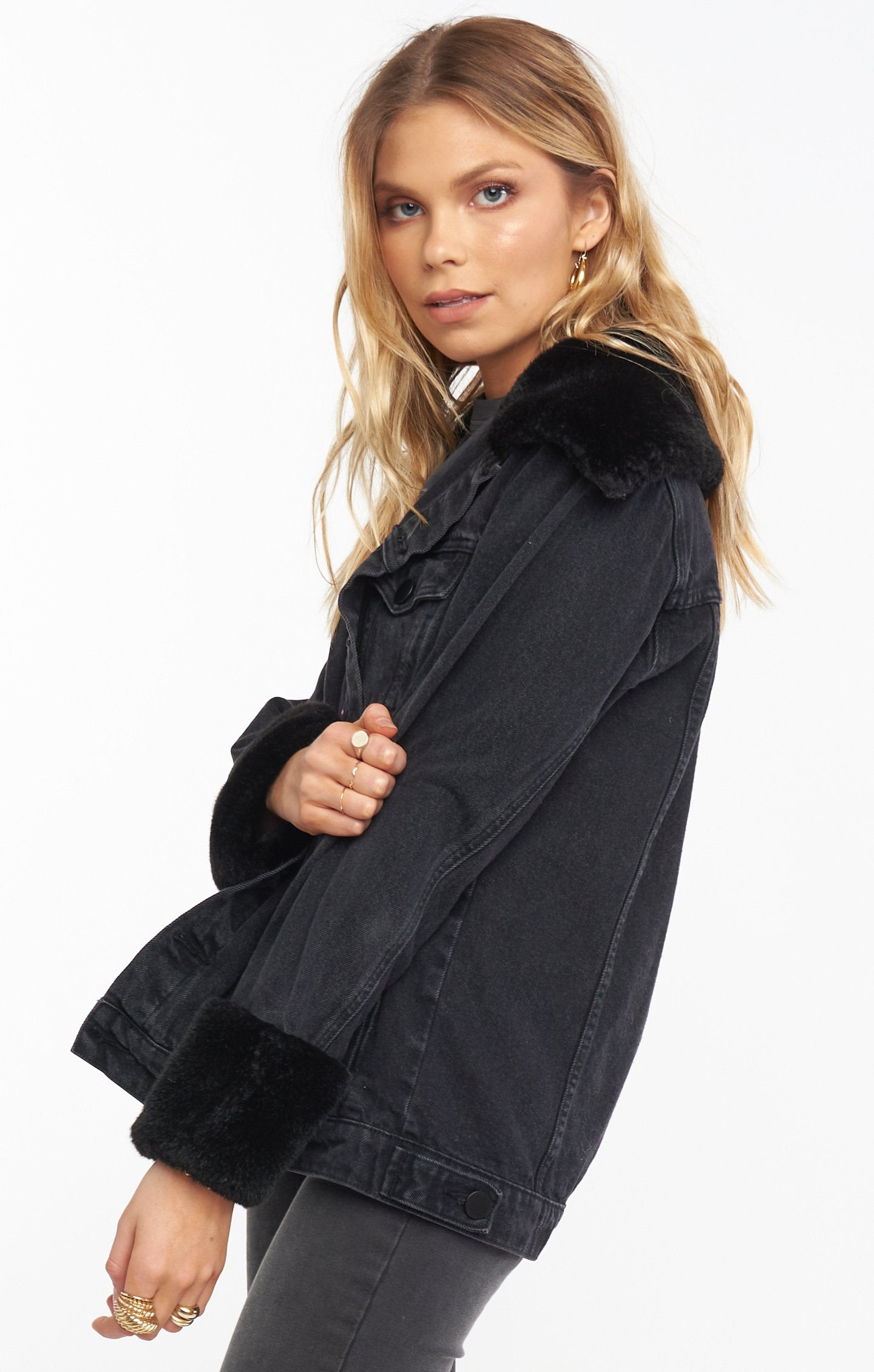 Load image into Gallery viewer, Denver Denim Jacket - Washed Black with Faux Fur | Show Me Your Mumu - Holiday/Resort 2020