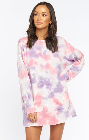 Sunday Sweatshirt Dress-Candy Tie Dye
