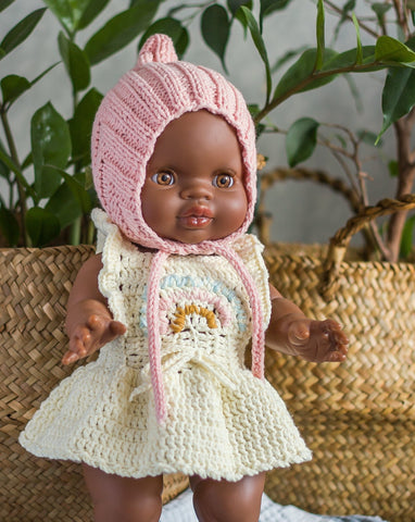 Handmade Rainbow Knit Doll Dress and Matching Pink Bonnet - Ivory
