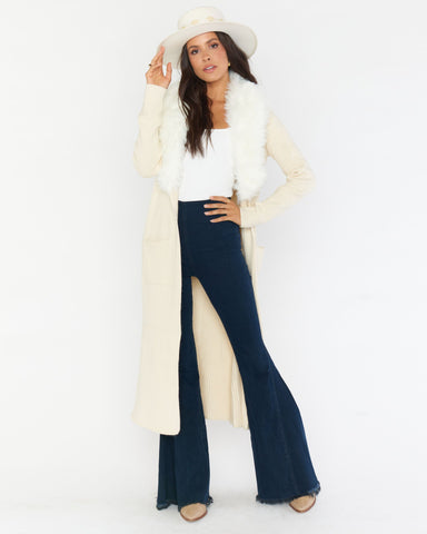 Lombardi Long Cardi - Snowy White Faux Fur