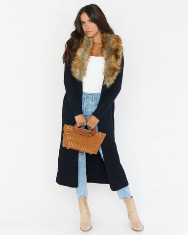 Lombardi Long Cardi - Black with Faux Fur