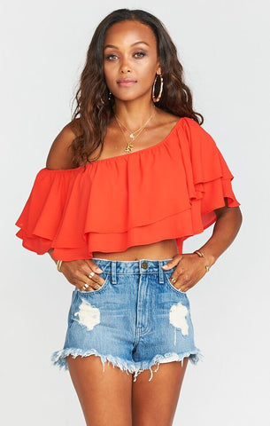 Hayworth Ruffle Top Tequila Sunrise Crisp
