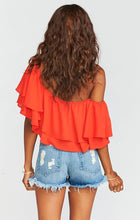 Load image into Gallery viewer, Hayworth Ruffle Top Tequila Sunrise Crisp by Show Me Your Mumu