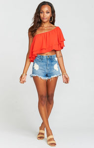 Hayworth Ruffle Top Tequila Sunrise Crisp by Show Me Your Mumu