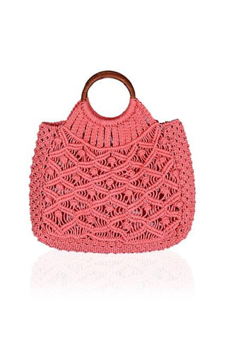 Cotton Cord Macreme Handheld Tote in Pink by America & Beyond