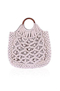 Cotton Cord Macreme Handheld Tote in Cream by America & Beyond