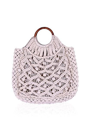 Cotton Cord Macreme Handheld Tote - Cream